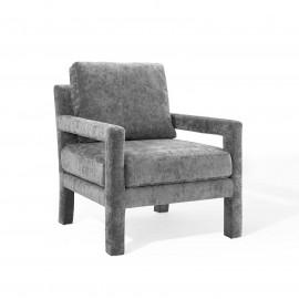 Grey Velvet Linear Frame Padded Arm Lounge Chair