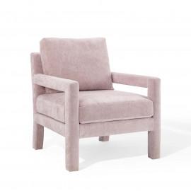 Pink Blush Velvet Linear Frame Padded Arm Lounge Chair