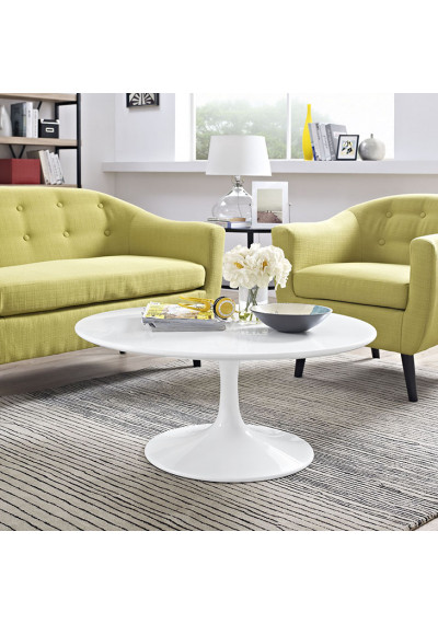White Lacquer Wood Round Top Tulip Coffee Table