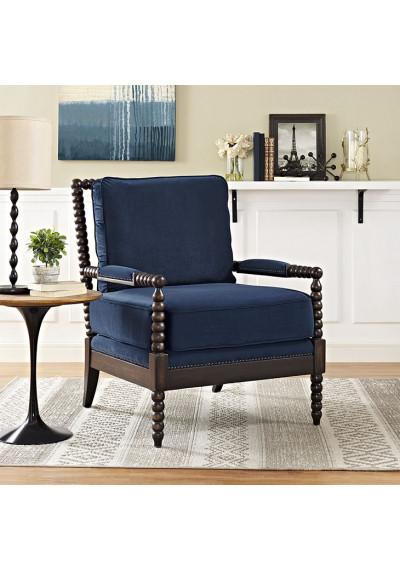 Navy Blue Velvet Fabric & Dark Wood Spindle Frame Arm Chair