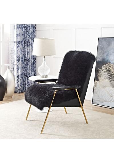 Black Sheepskin Gold Frame Arm Chair
