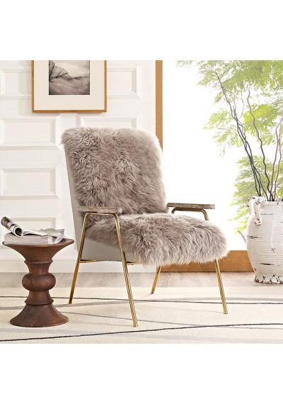 Taupe Brown Sheepskin Gold Frame Arm Chair