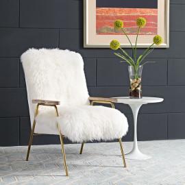White Sheepskin Gold Frame Arm Chair