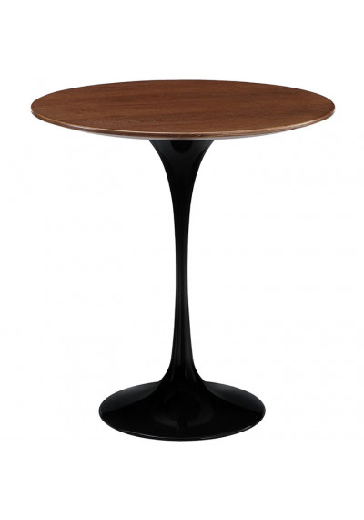 Black Lacquer Tulip Wood Top Side Accent Table