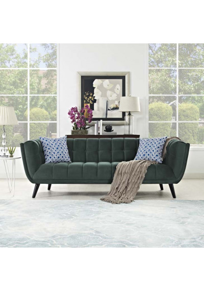 Deep Green Velvet Scoop Style Sofa