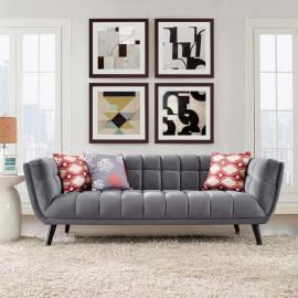 Grey Velvet Scoop Style Sofa