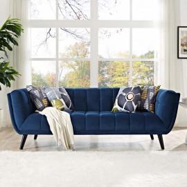 Navy Blue Velvet Scoop Style Sofa