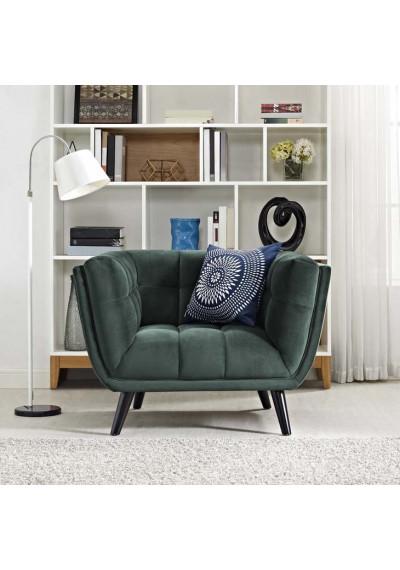 Deep Green Velvet Scoop Style Chair
