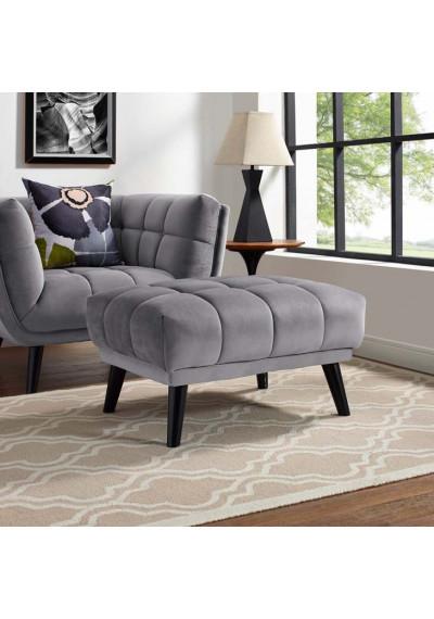 Grey Velvet Scoop Style Ottoman