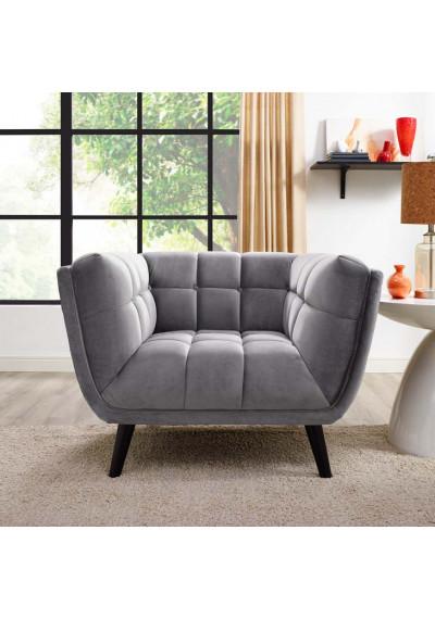 Grey Velvet Scoop Style Chair