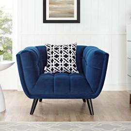 Navy Blue Velvet Scoop Style Chair