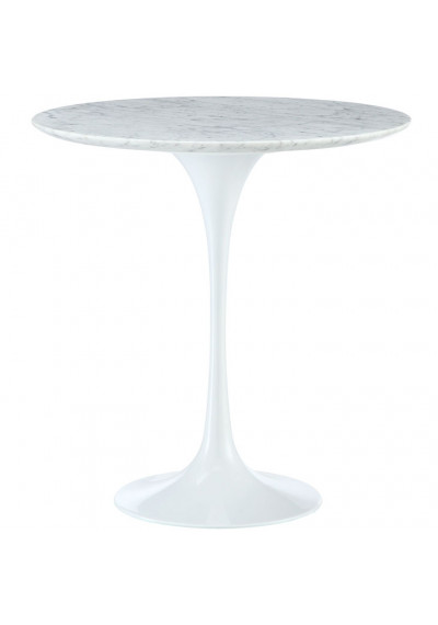 White Lacquer Tulip Marble Top Side Accent Table