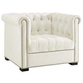 Ivory Velvet Tufted Chesterfield Style Chair