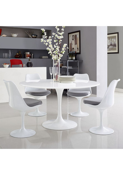 Glossy White Wood Top Metal White Base Round Dining Table 4 sizes