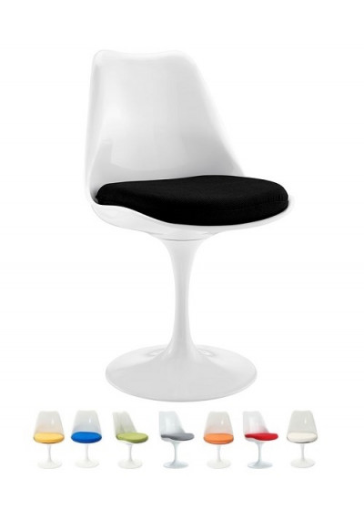White Tulip Side Chair Choice of 8 Color Fabric Seat Cushions