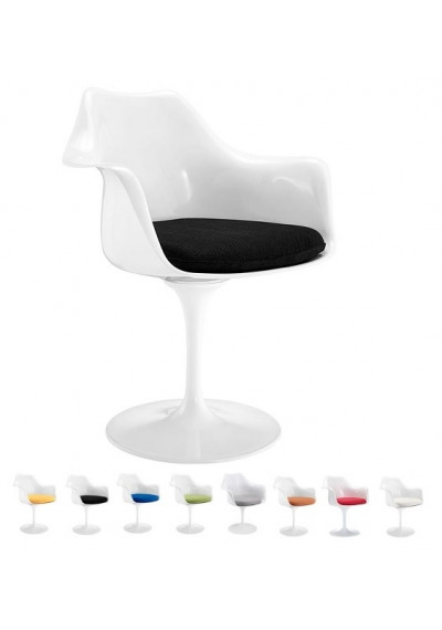 White Tulip Arm Chair Choice of 8 Color Fabric Seat Cushions