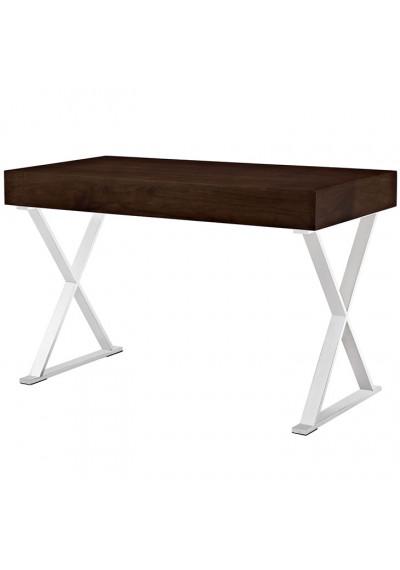 Dark Walnut X Frame Silver Base Desk