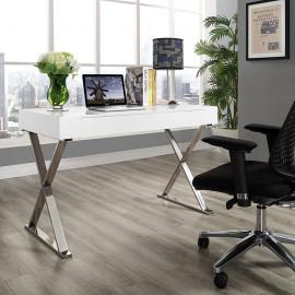 White X Frame Silver Base Desk