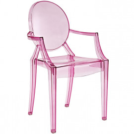 Pink Tinted Clear Arm Chair
