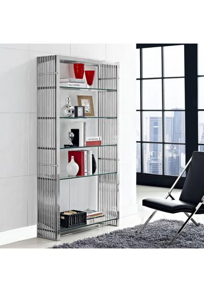 Silver Staple Glass Slat Bookshelf
