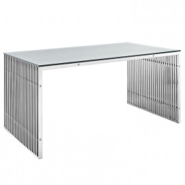 Silver Staple Glass Top Desk Dining Table 2 sizes