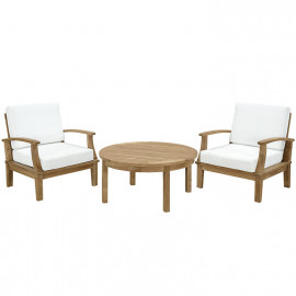 3 Piece Teak Outdoor Patio Set White Fabric Cushions