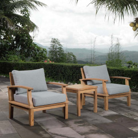 3 Piece Teak Patio Set Grey Fabric Cushions