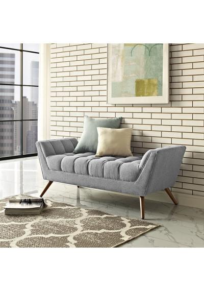 Mid Century Light Grey Fabric Tufted Bench