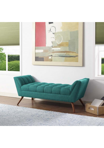 Mid Century Teal Green Fabric Tufted Bench