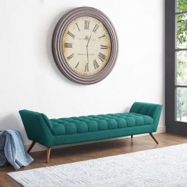 Mid Century Extra Long Teal Green Fabric Tufted Bench