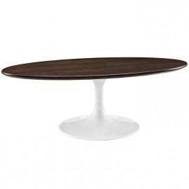 Dark Walnut Oval Top White Base Mid Century Modern Coffee Table