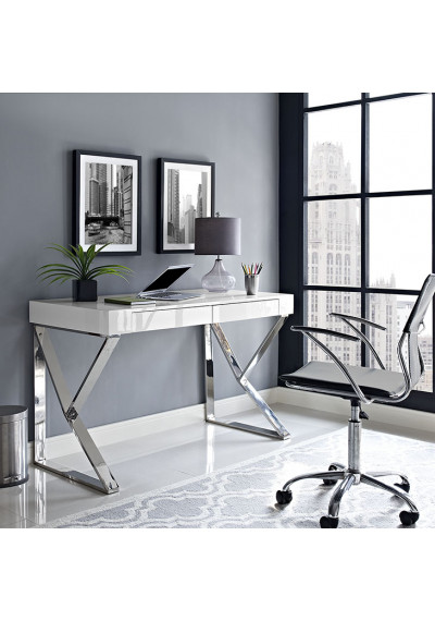 White Lacquer Silver Base Desk