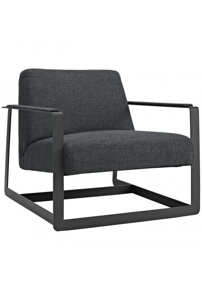 Charcoal Grey Fabric Square Frame Arm Chair