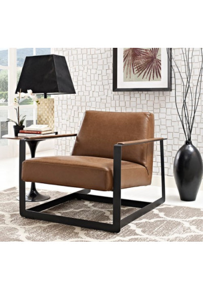 Brown Faux Leather Square Frame Arm Chair