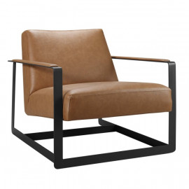 Tan Brown Faux Leather Square Frame Arm Chair