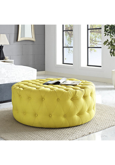 Yellow Fabric All Over Button Tufted Round Ottoman Coffee Table