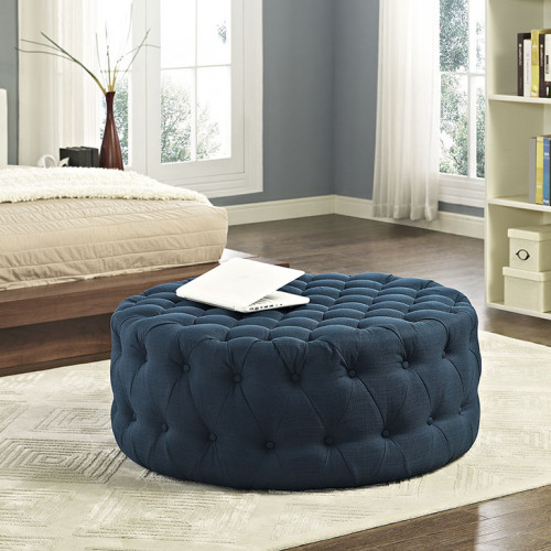 Blue Fabric All Over Button Tufted Round Ottoman Coffee Table