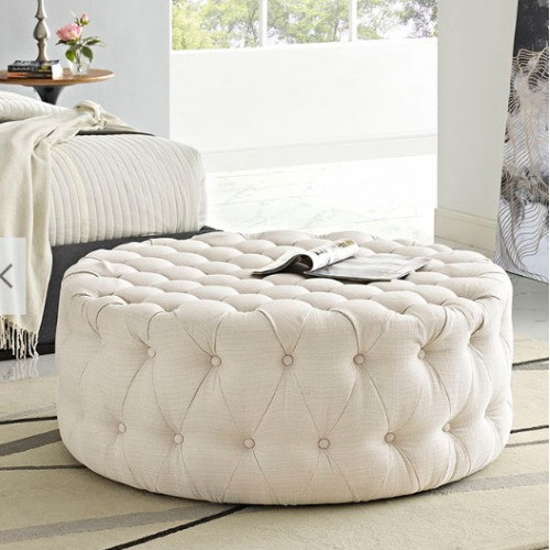 Beige Fabric All Over Button Tufted Round Ottoman Coffee Table