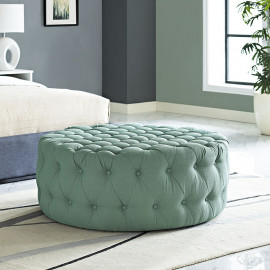 Light Aqua Fabric All Over Button Tufted Round Ottoman Coffee Table