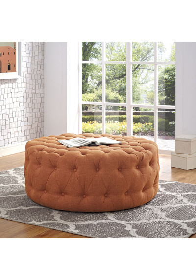 Burnt Orange Fabric All Over Button Tufted Round Ottoman Coffee Table