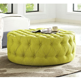 Chartreuse Yellow Fabric All Over Button Tufted Round Ottoman Coffee Table
