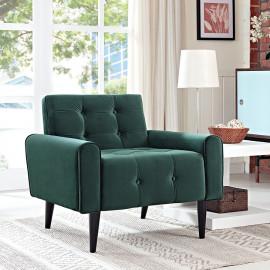 Green Velvet Tufted Apartment Armchair