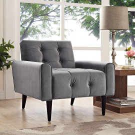 Grey Velvet Tufted Apartment Armchair