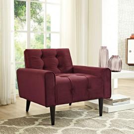 Maroon Velvet Tufted Apartment Armchair