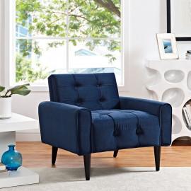 Blue Velvet Tufted Apartment Armchair