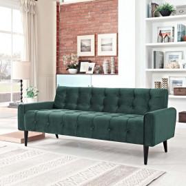 Green Velvet Tufted Apartment Size Sofa