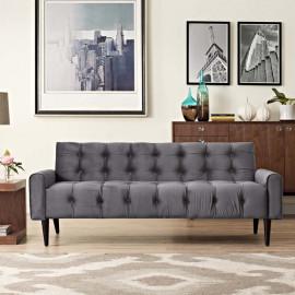Grey Velvet Tufted Apartment Size Sofa