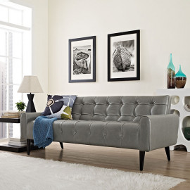 Grey Faux Leather Tufted Apartment Size Sofa