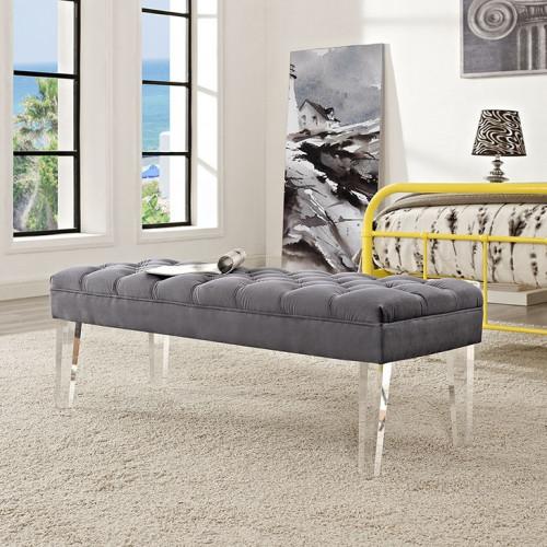 Acrylic Leg Velvet Tufted Bench In Grey