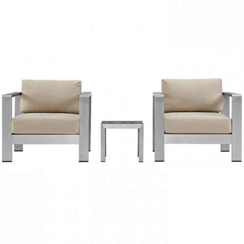 3 Piece Silver Aluminum Patio Set Beige Fabric Cushions